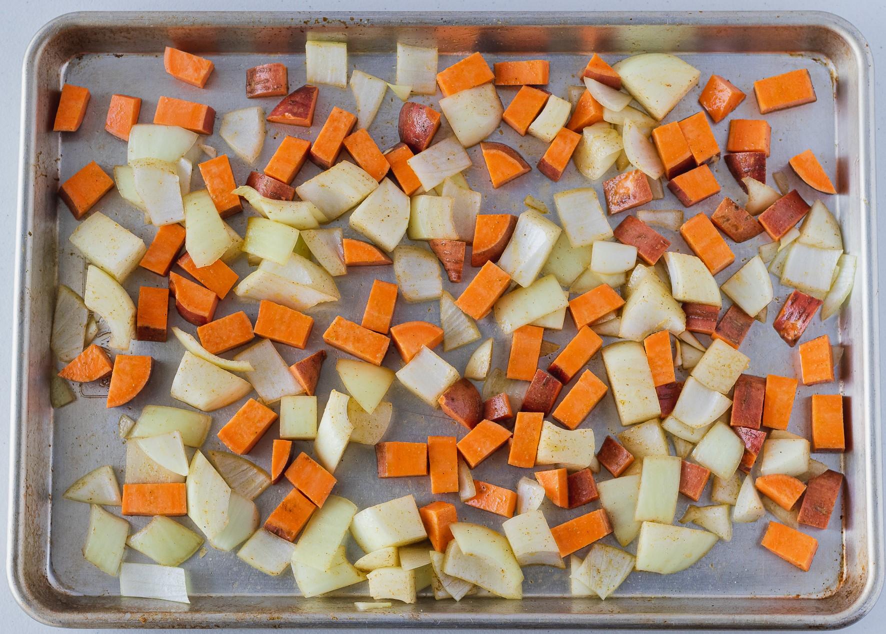 Sweet potatoes and onions
