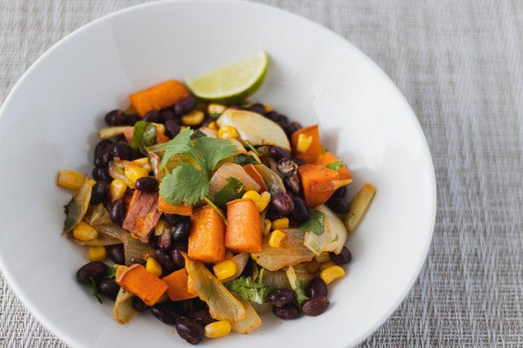 Black bean and sweet potato sheet-pan dinner