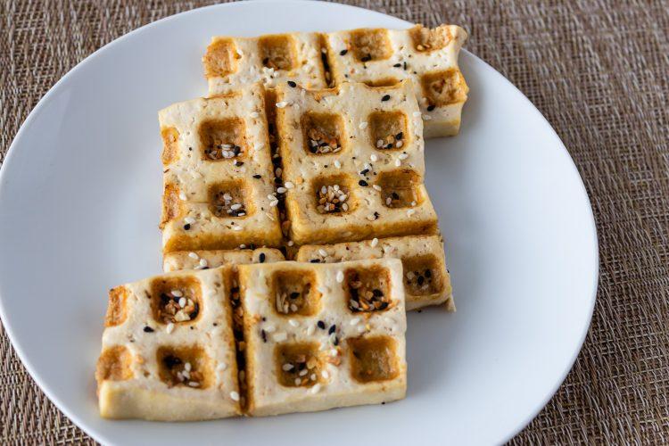 Tofu waffle with everything bagel seasoning