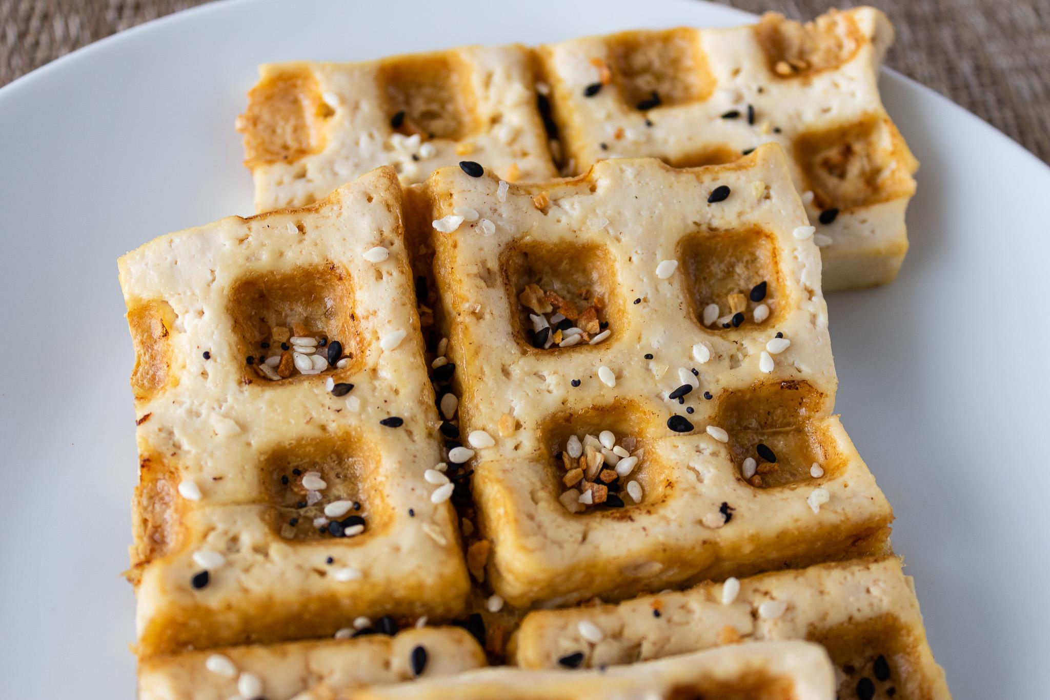 Tofu waffle with everything bagel seasoning close-up