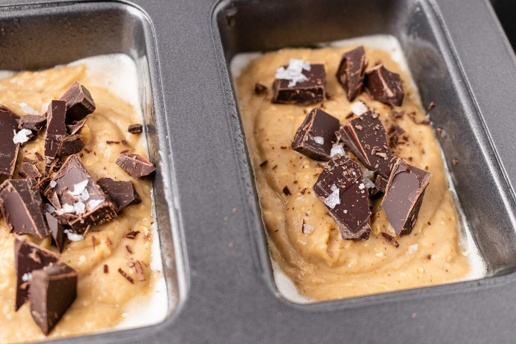 Peanut butter bean blondies with chopped chocolate before baking