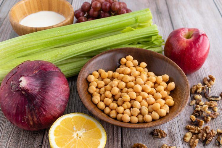 Chickpea Waldorf salad ingredients