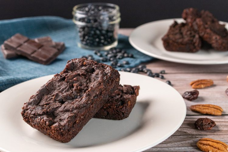 Chocolate Chunk Black Bean Brownies with Cherries and Toasted Pecans