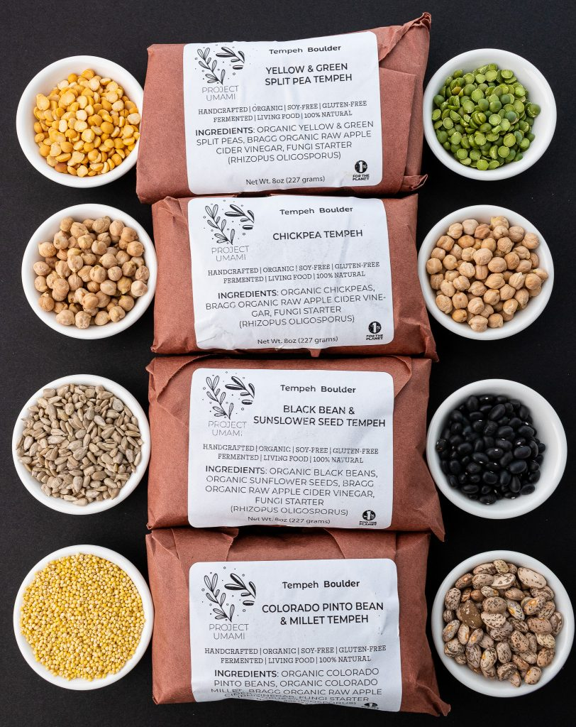 Project Umami Tempeh-4 flavors in packaging
